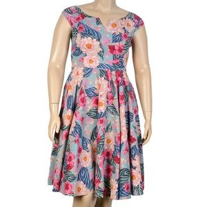 Hell Bunny Mint Floral Lotus Dress